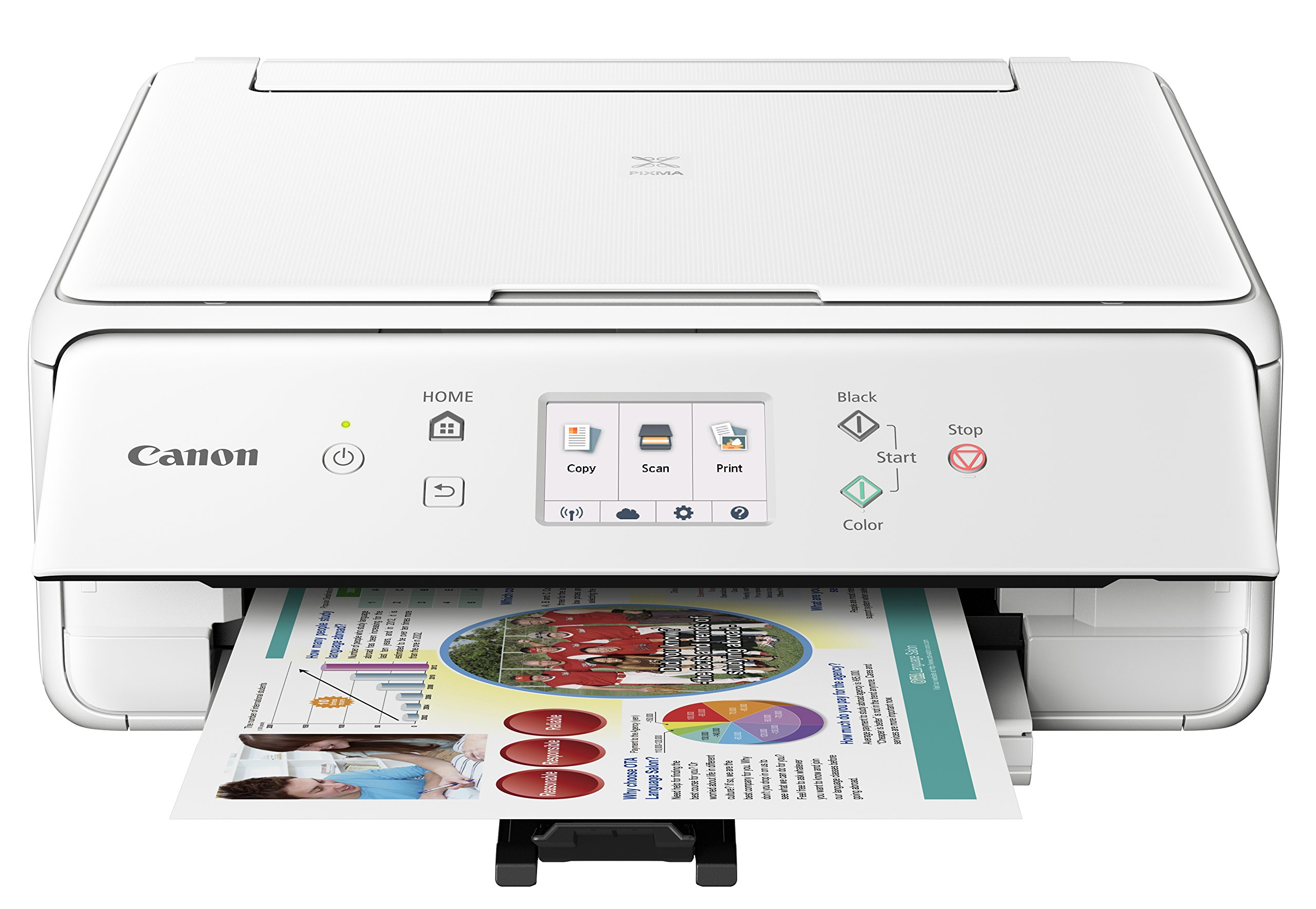 Canon Compact TS6020 Wireless Home Inkjet All-in-One Printer, Copier & Scanner, Mobile Printing, Auto Duplex and Business Card Printing, White