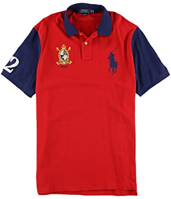 Polo Ralph Lauren Men\u0027s Classic-Fit Color Block Big Pony Short-Sleeve Polo  Shirt (Polo Red/Newport Navy, X-Large) at Amazon Men\u0027s Clothing store: