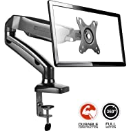 ONKRON Desk Monitor Mount Articulating Arm for LED LCD Flat Panel TV Screens 13'' – 27 inch up to 14.3 lbs Full Motion Adjustable G80 Black