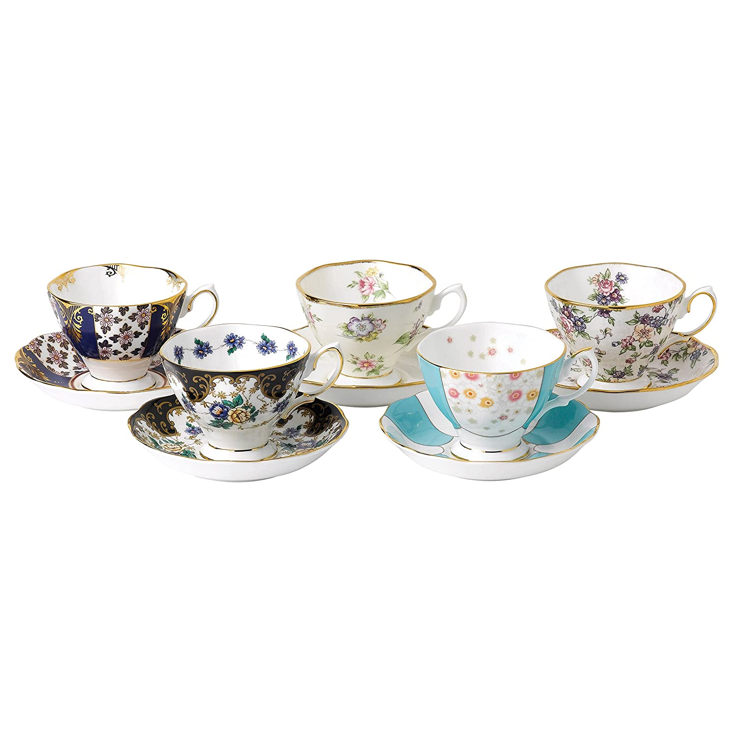 Royal Albert 40017543 100 Years 1900-1940 Teacup & Saucer Set, Multicolor , 5 Piece