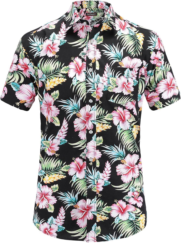 Jandukar Mens Casual Flower Print Hibiscus Short Sleeve Hawaiian Aloha Shirt