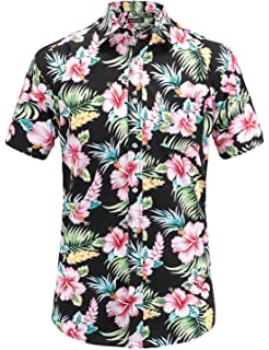 99ad6639 Dioufond Men's Pineapple Flower Casual Button Down Short Sleeve ...