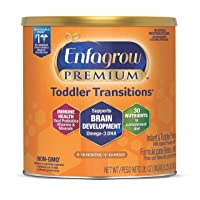 Enfagrow Premium Toddler Transitions Infant Formula - 20 oz. Can, Vitamins and Dual Prebiotics for IMMUNE SUPPORT, Omega 3 DHA for Brain Development, Non-GMO, Iron, Milk Powder Toddler Formula