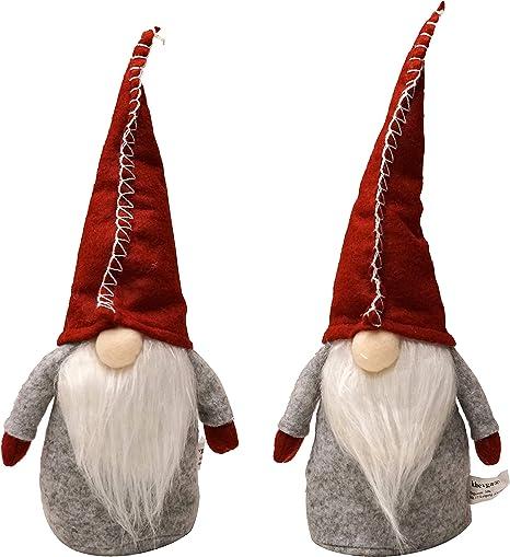 set da 2/in rosso e grigio Gnomo di Natale ornamentale in feltro