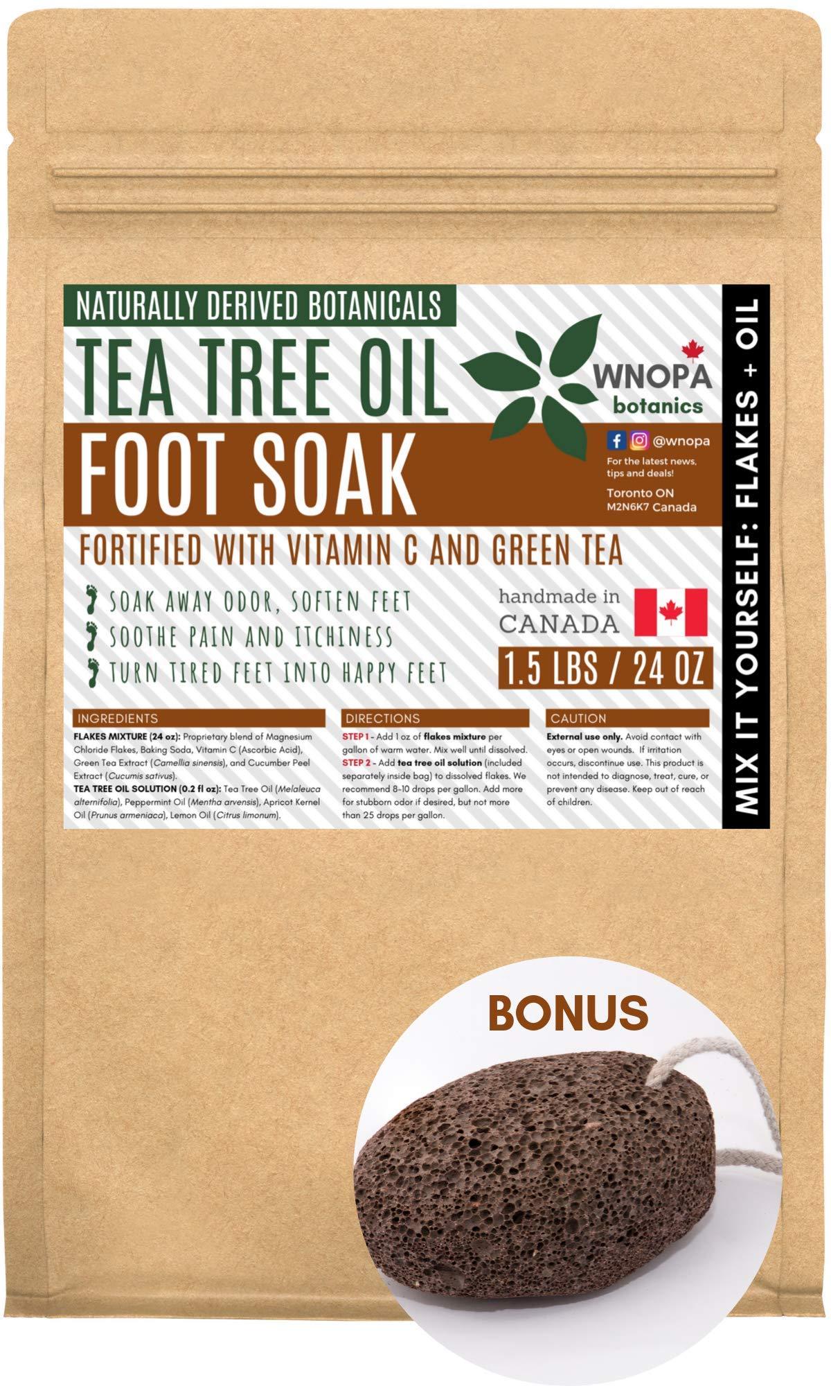 Handmade 100% Natural Tea Tree Oil Foot Soak Salts - Vitamin C & Green Tea Extract - Foot Care Dead Sea Salts For Soaking in Pedicure Foot Soak Tub - Made in Canada - 1.5 LB & Bonus Lava Pumice Stone by WNOPA