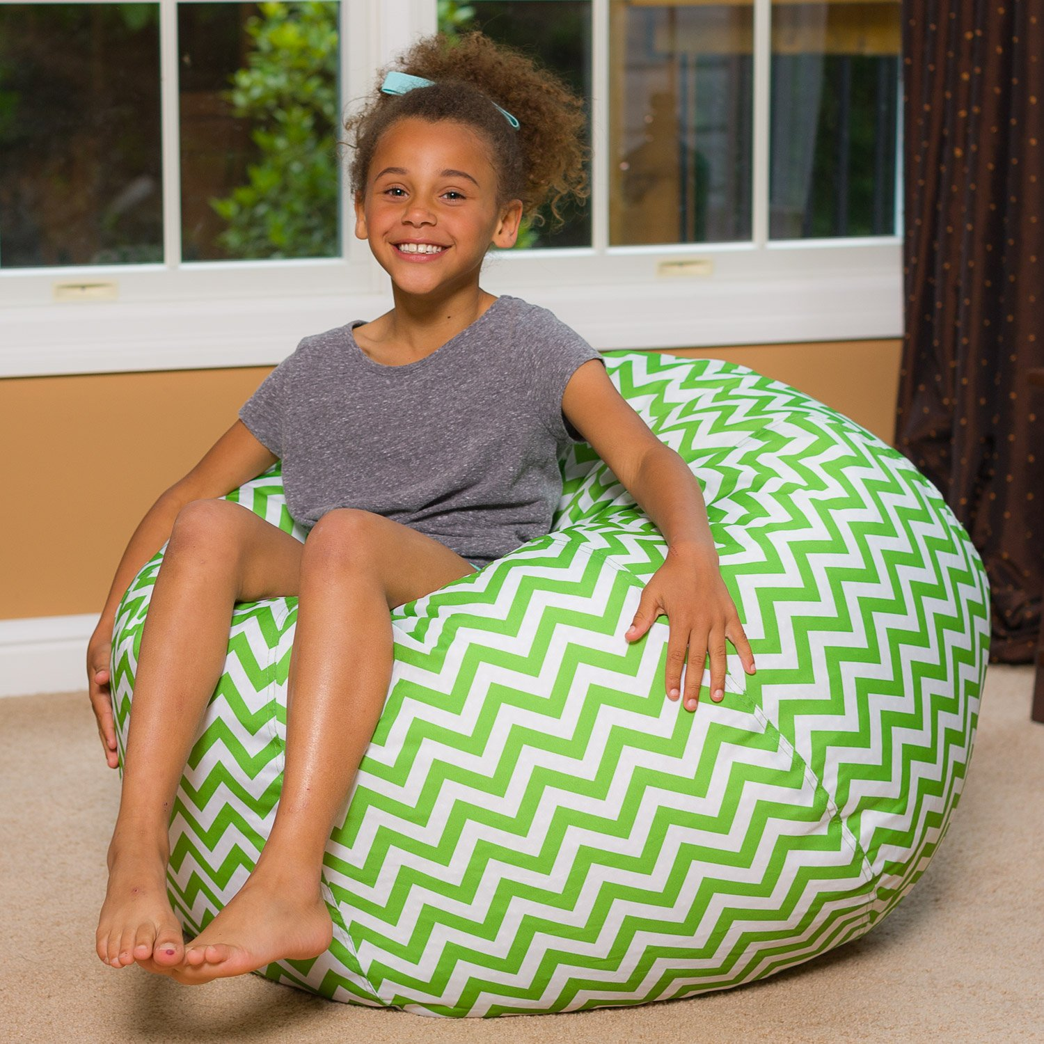 Big Comfy Bean Bag Chair: Posh Large Beanbag Chairs for Kids, Teens and Adults - Polyester Cloth Puff Sack Lounger Furniture for All Ages - 27 Inch - Chevron Green and White by Posh Beanbags (Image #3)
