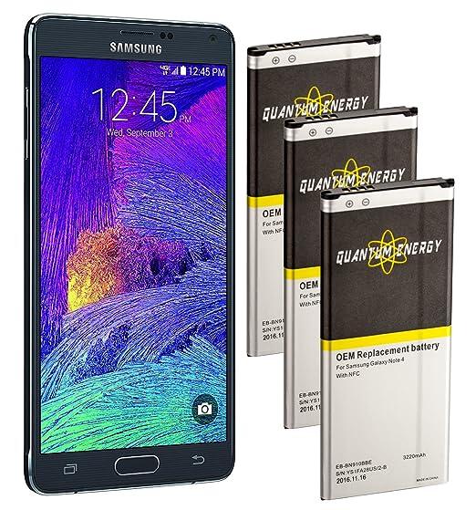 QUANTUM ENERGY 3x 3,220 mAh Note 4 Baterías NFC para Samsung Galaxy Note 4, 2