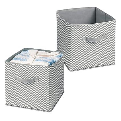 mDesign Juego de 2 cajas de almacenamiento para organizar juguetes – Caja de tela para artículos