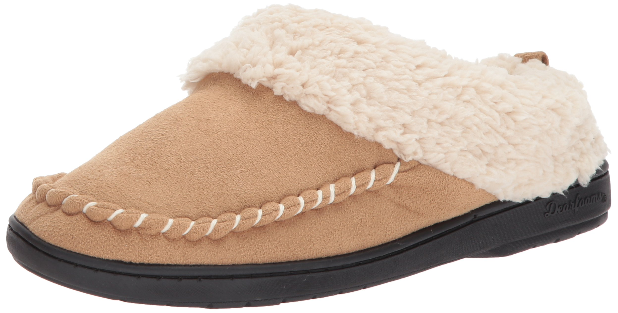 Dearfoams Women's MFS Clog with Whipstitch, Desert, XL Medium US
