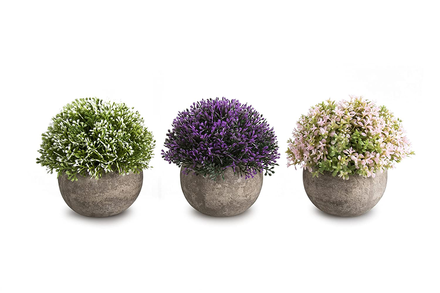 OPPS Mini Artificial Plants Plastic Fake Green Colorful Flower Topiary Shrubs With Gray Pot For Home Décor – Set of 3