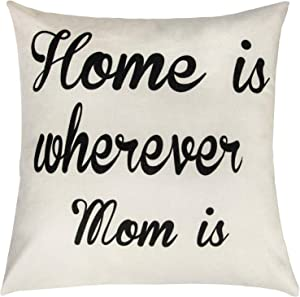 Ouddy Home is Where My Mom is, Mom Pillows from Daughter and Son, Square Linen Pillow Cases, The Best Gift for Mom, Throw Pillow Covers for Mothers Day Decorations Sofa Car Home (18 x 18)