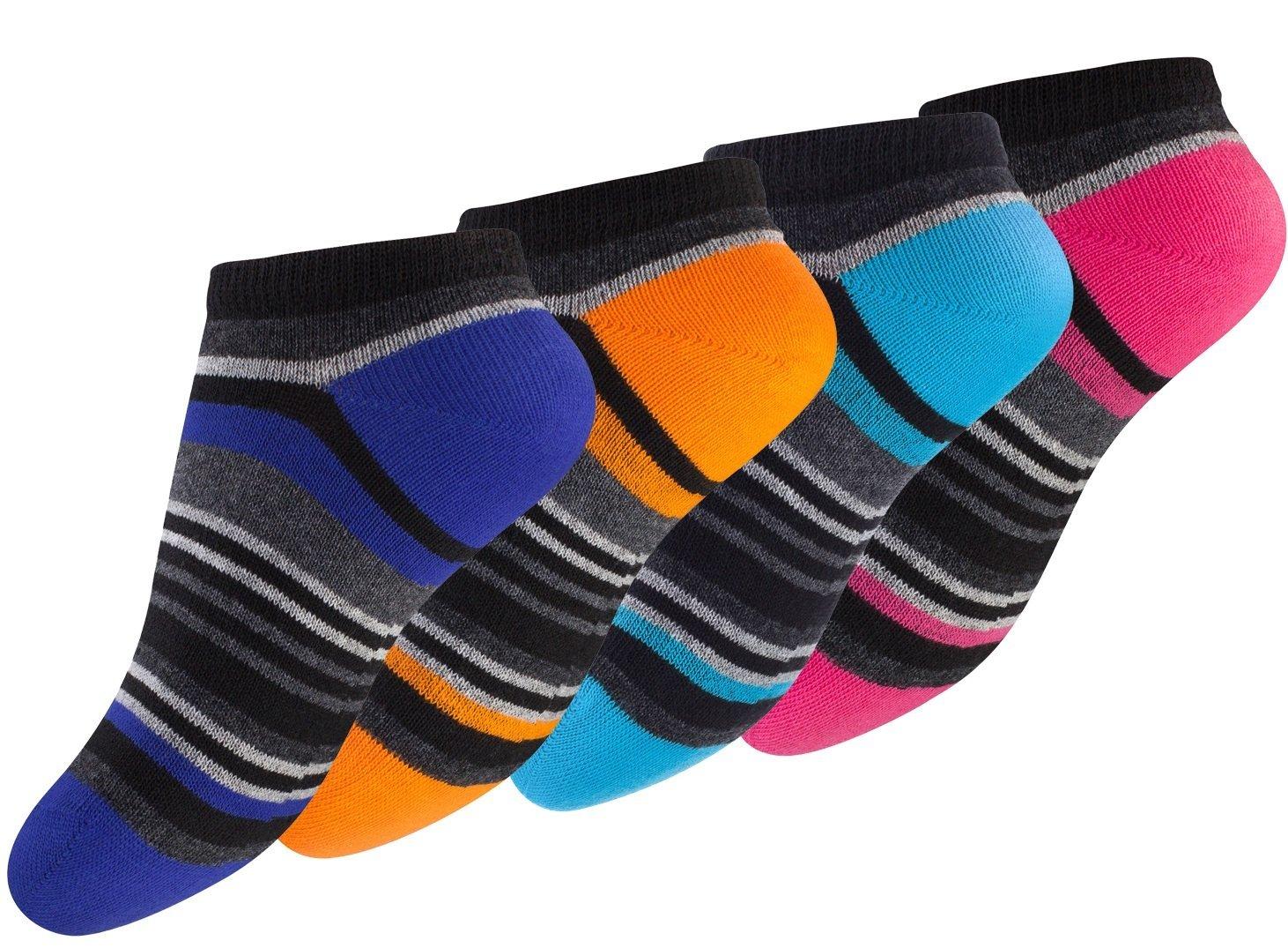 Calzini corti a strisce colorate per bambini - Confezione da 8 Sport Line