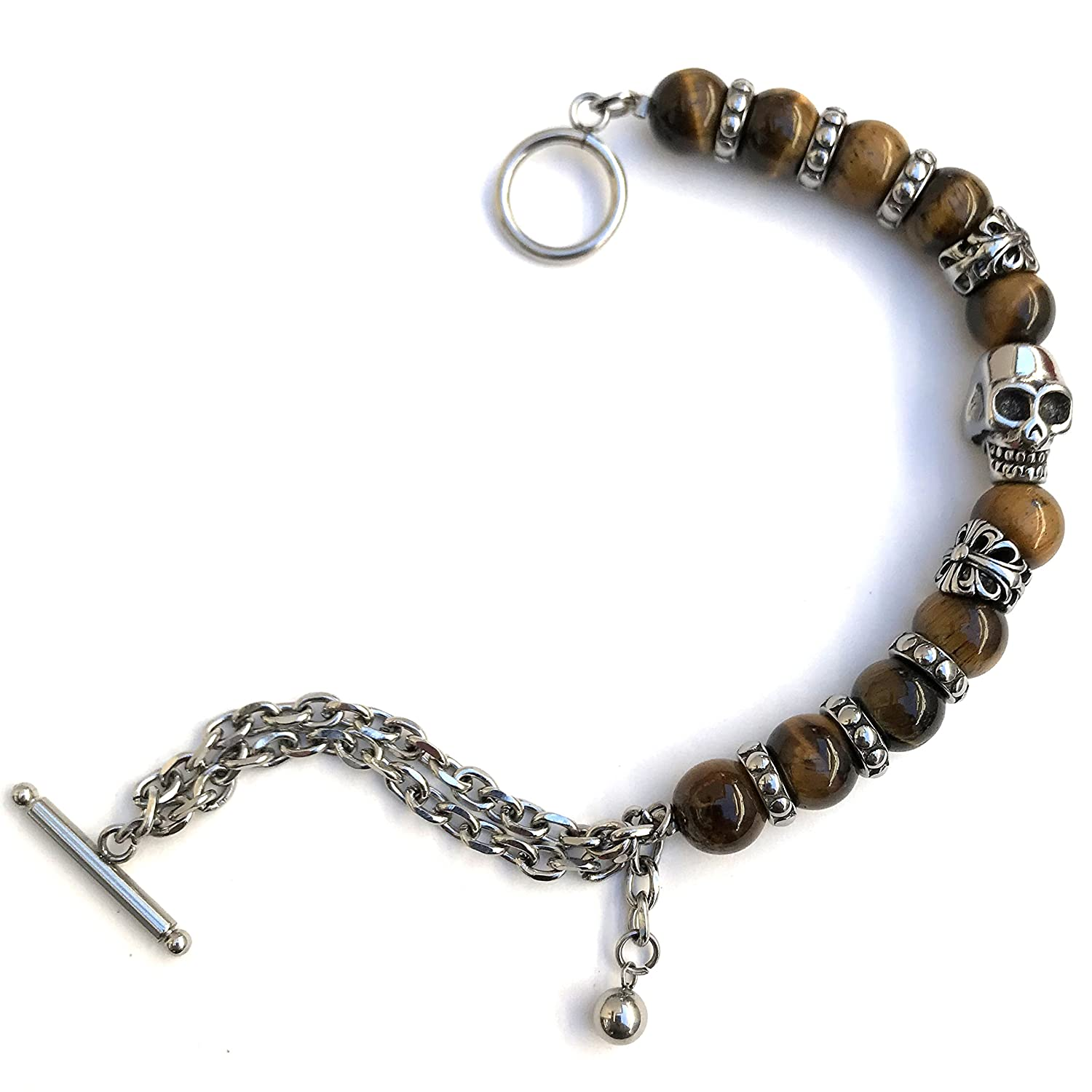 Vexed Soul 10mm Bead with Skull and Gothic Metal Beads Along with Stainless Steel Link Chain Bracelet 9.5 VS-YY-03