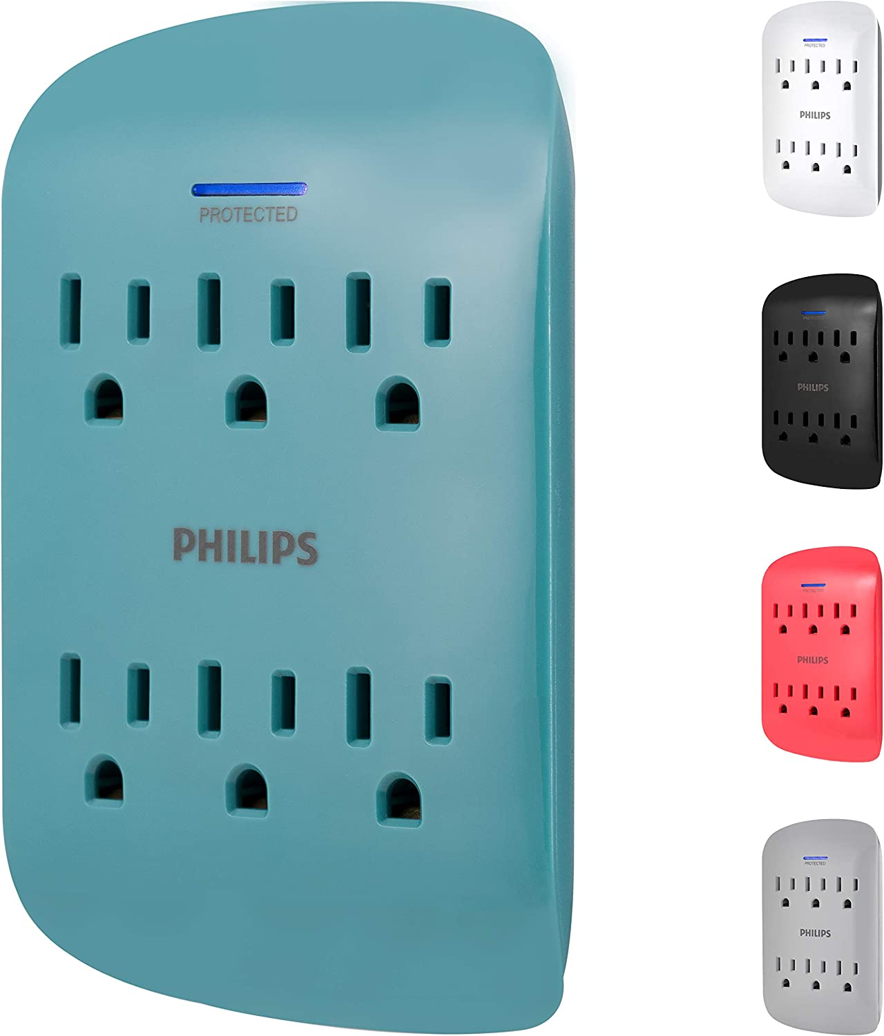 PHILIPS 6-Outlet Surge Protector Tap, 900 Joules, 3-Prong, Space Saving Design, Protection Indicator LED Light, Teal, SPP3461TL/37