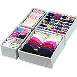 (4 Set with cells, Gray) - SimpleHouseware Closet Underwear Organiser Drawer Divider 4 Set, Grey