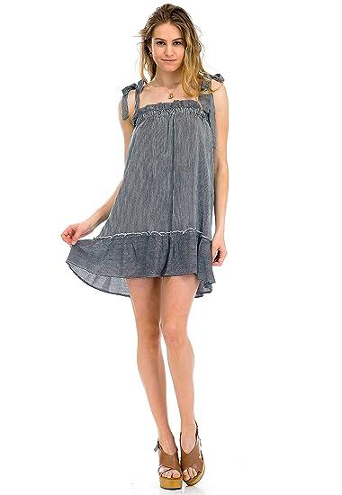 5d86e4b4b4ec Malibu Days Women's Stripe Bow Strap Shift Sleeveless Casual Swing ...