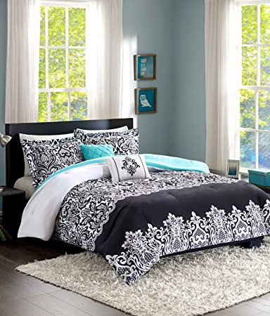 Home Style Teen Girl Bedding Damask Girls Comforter Black White Aqua Teal  Full Queen + Gorgeous Throw Pillows + Shams Sleep Mask Bed Bedspread Sets  ...