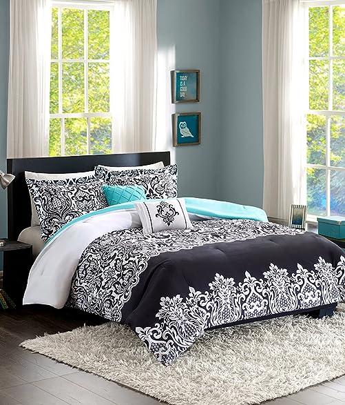 Amazon.com: Teen Girl Bedding Damask Girls Comforter Black White ...