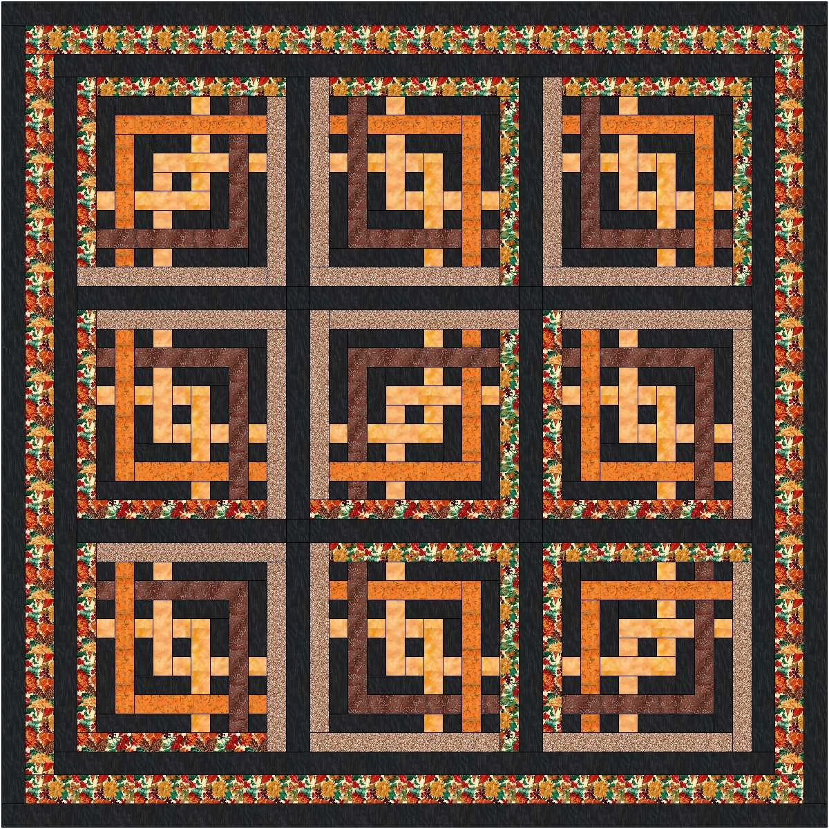 Quilt Kit Autumn Maze Dramatic! by Material Maven