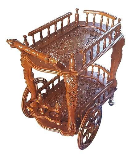 Tayyaba Enterprises Handcrafted Wooden Service Trolley