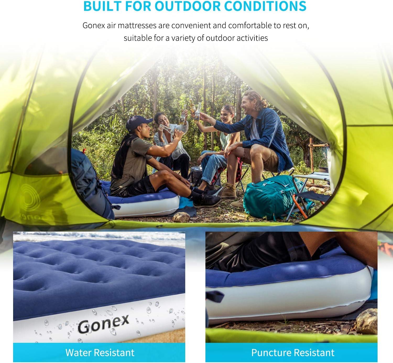 Gonex Matelas Gonflable /Électrique,Lit Gonflable avec Couche Floqu/ée 2 Places pour Invit/és Camping Voyage avec Sac de Rangement 203/×153/×50cm