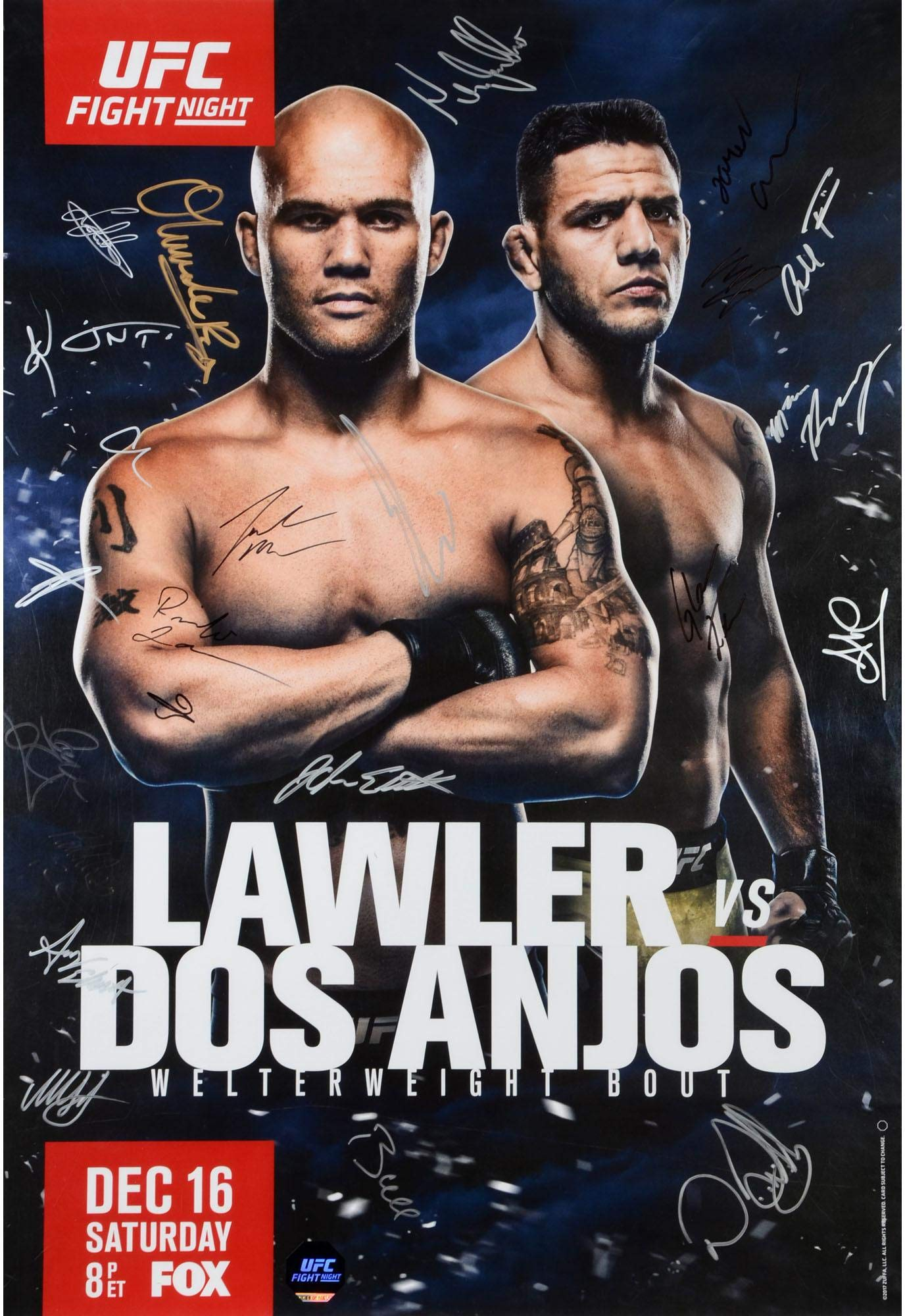 """UFC on FOX 26 Lawler vs. Dos Anjos Autographed 27"""" x 39"""" 22 Signature Fight Poster Fanatics Authentic Certified"""