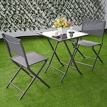 Amazon.com: 3 Pcs Bistro – Juego de jardín patio mesa sillas ...