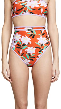 f09422276cab4 Diane von Furstenberg Women's High Waisted Bottoms, Argos  Clementine/Lavender, Orange, Floral