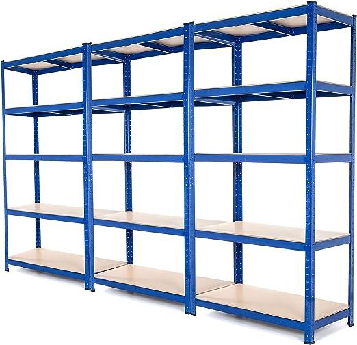 Estantería de acero muy resistente, estantería de garaje para organizar herramientas, con capacidad de 275 kg por estante (5 niveles 1800 x 900 x 600 ...