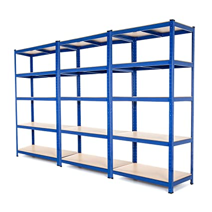 Scaffali Per Garage.3 Bay Heavy Duty Steel Scaffali Scaffalature Garage 275 Kg Per Ripiano 5 Livelli 1800 Mm Altezza X 900 Mm Larghezza X 600 Mm D Fornito Con Free