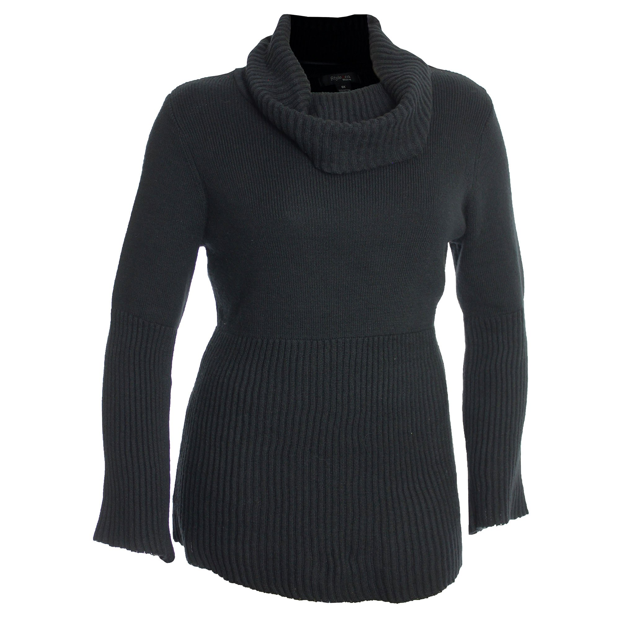 Style & Co. Womens Plus Ribbed Cowl Neck Pullover Sweater Black 3X