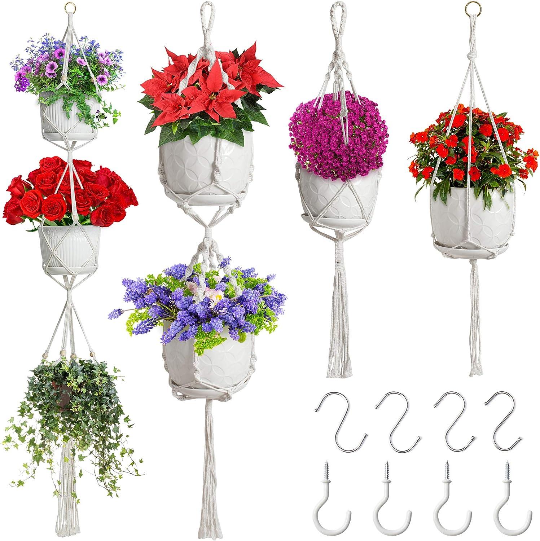 Macrame PlantHangers 4Pcs - DifferentHangingPlantersDecorativeFlowerPotHolder Stand Handmade Cotton Rope,IndoorOutdoorBoho HomeDecor, 4Legs, 4Size, DifferentTiers, 8Hooks: Garden & Outdoor
