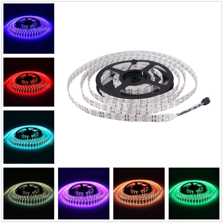 Alarmpore (TM) 16.4FT Double Row 5050 SMD 5M 600LEDs RGB Flexible LED Strip Rope Lights 120LEDs/M Not Waterproof String Light Tape 12V DC
