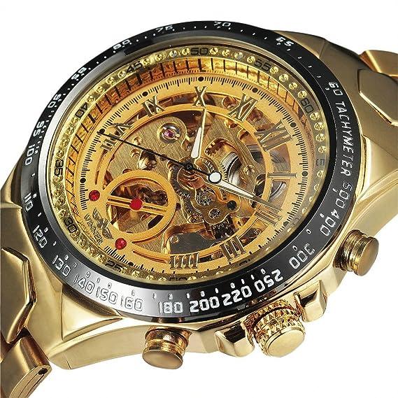 Amazon.com: WINNER Luxury Brand Watches Men Automatic Self-Wind Fashion Casual Male Sports Watch Full Steel Mechanical Wristwatches: Watches