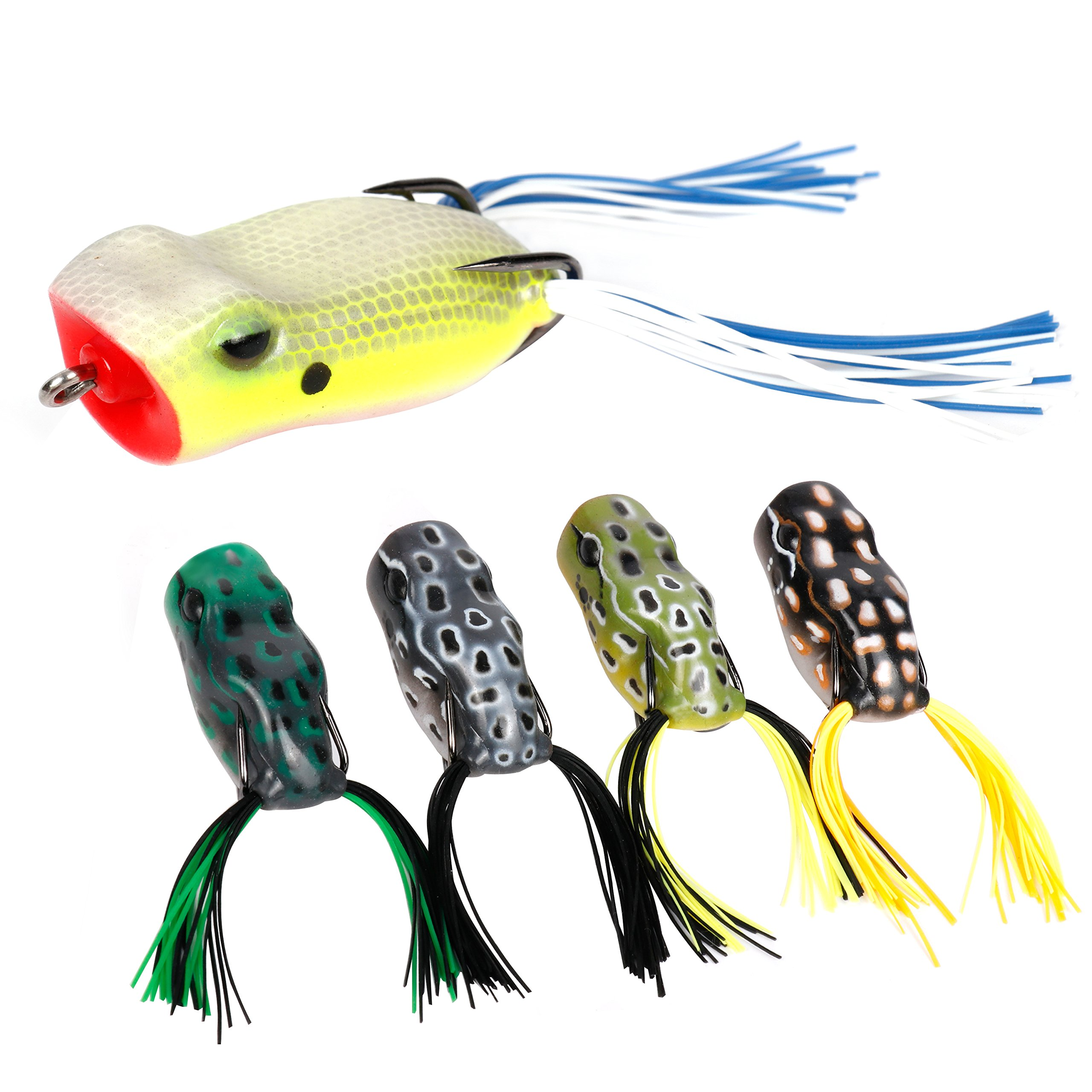 RUNCL Topwater Frog Lures with Twin Skirts, Soft Fishing Lure Kit with Tackle Box for Bass Pike Snakehead Dogfish Musky (Pack of 5) by RUNCL