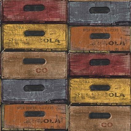 """Grandeco ew3303 """"Thema expuestos almacén patrón"""" línea papel pintado, multicolor, ..."""