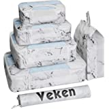 Veken 6 Set Packing Cubes, Travel Luggage Organizers with Laundry Bag Shoe Bag (White Mable)