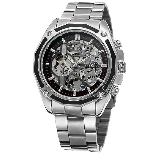 Forsining automático de la Marca Hombres Chino Movt Reloj de Pulsera de Acero Inoxidable único Reloj fsg8130 m4s2: Amazon.es: Relojes