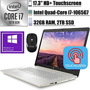 "2020 Flagship HP 17 Laptop Computer 17.3"" HD+ Touchscreen WLED Display 10th Gen Intel Quad-Core i7-1065G7 32GB RAM 2TB SSD DVD-Writer WiFi HDMI Webcam Win 10 Pro + iCarp Wireless Mouse"
