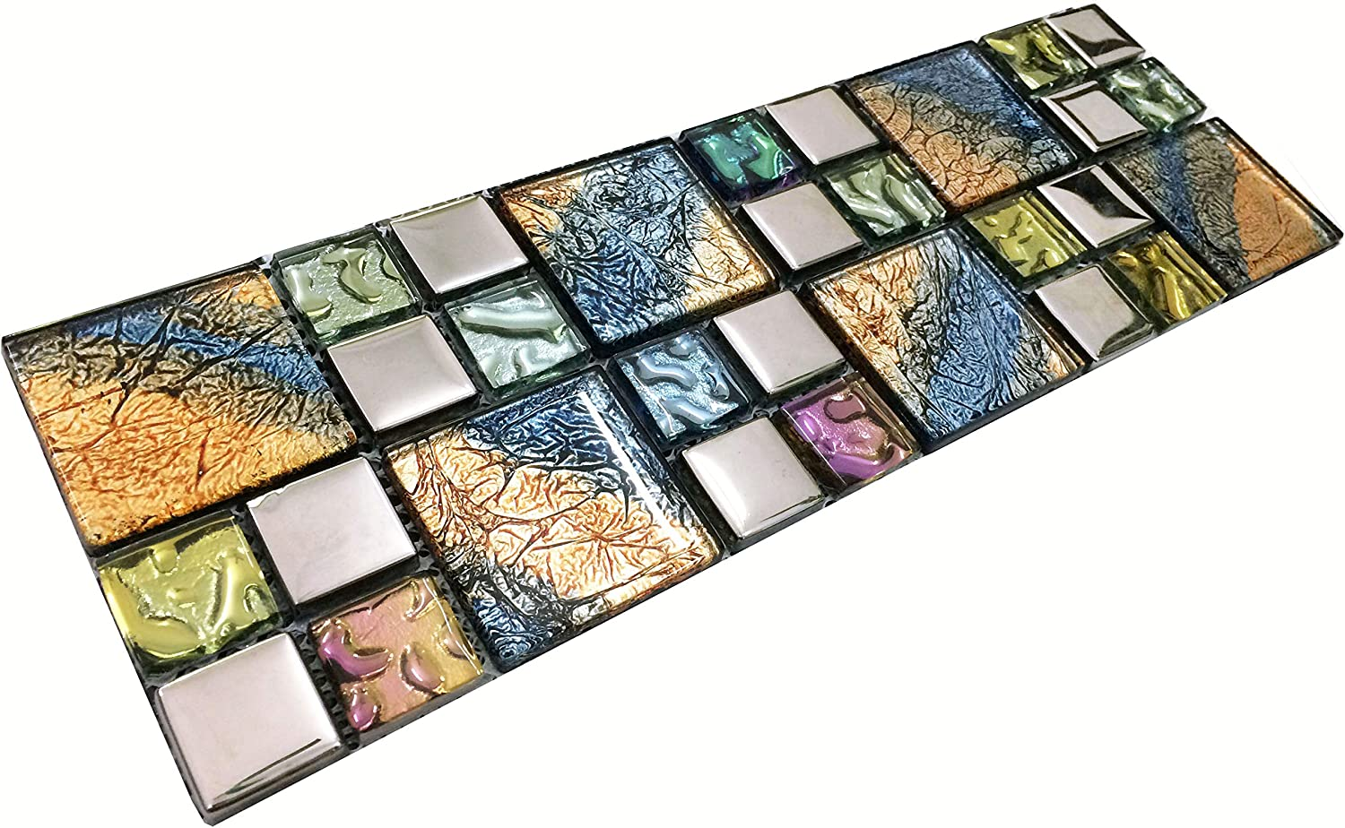 - Multiple Color Mixed Glossy Glass Mosaic Bathroom Wall Tiles