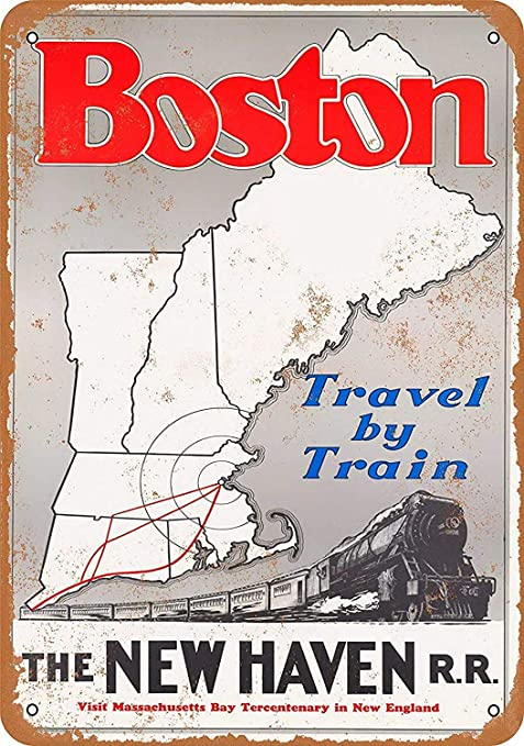 DGBELL Boston Via New Haven Railroad Cartel de Pared de ...
