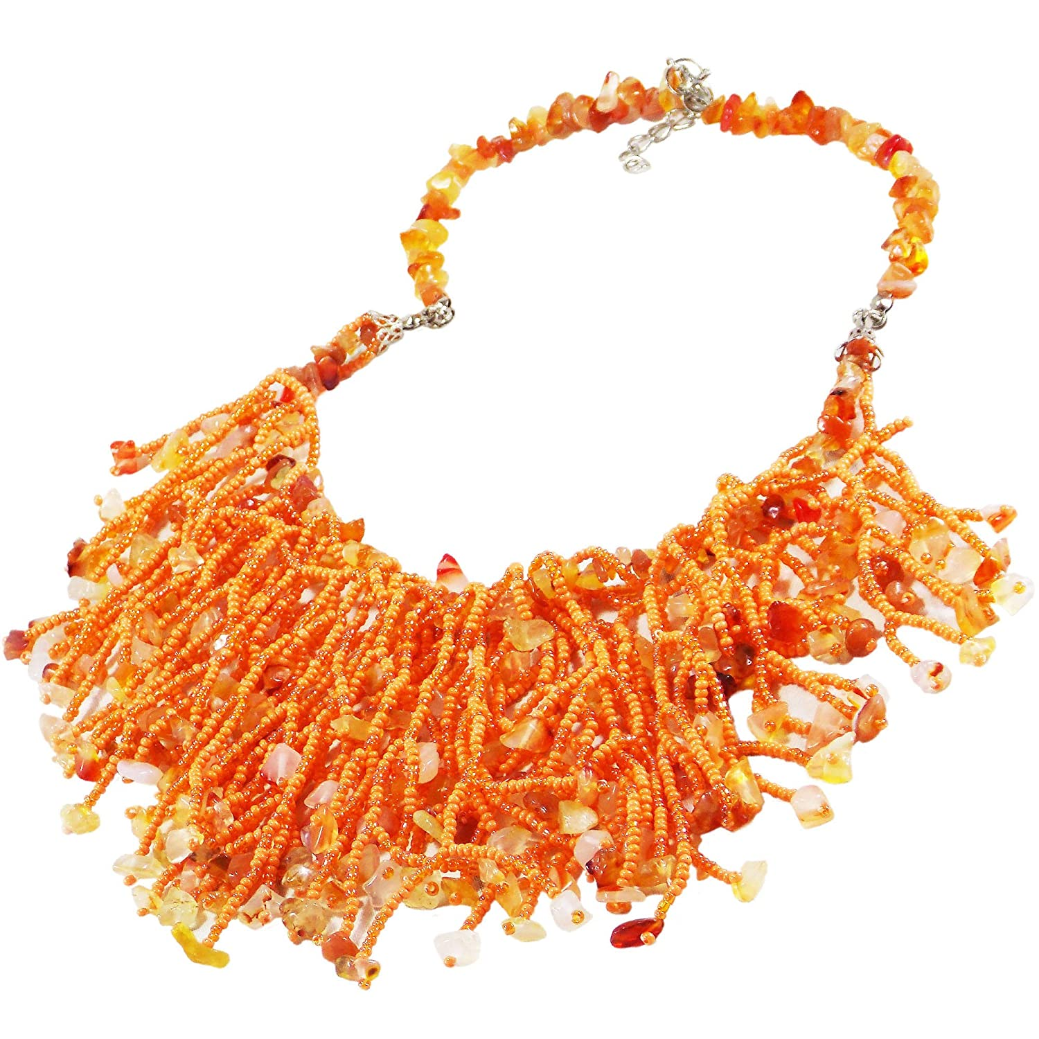 air beaded necklace seed beaded necklace orange beaded necklace seed beaded jewelry gift for women