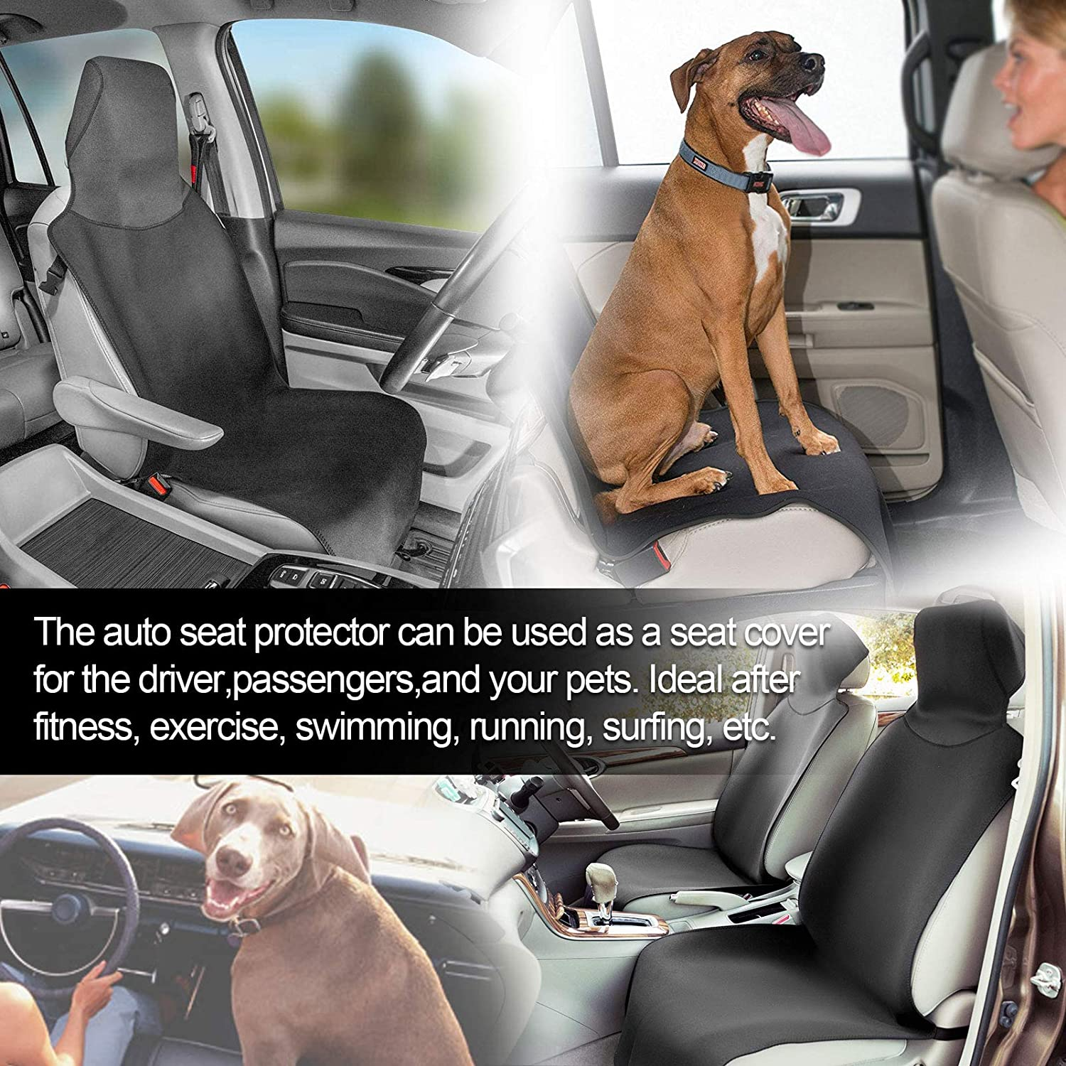 Universal Fit Sweatproof Car Seat Protector The Best Non-Slip Neoprene Vehicle Seat Cover Seat Cushion Great for Workout Waterproof Front Seat Covers Yoga Gym Running Beach and Pets Dirt