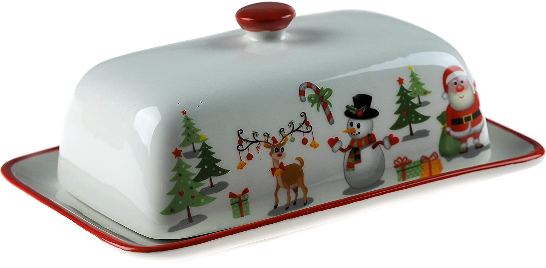 Weihnachten Santa Schneemann Rentier Keramik Deko Butterdose: Amazon ...