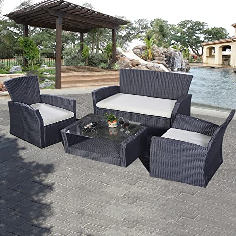 Amazon Tangkula Outdoor Cushioned Wicker Furniture Set Sofa
