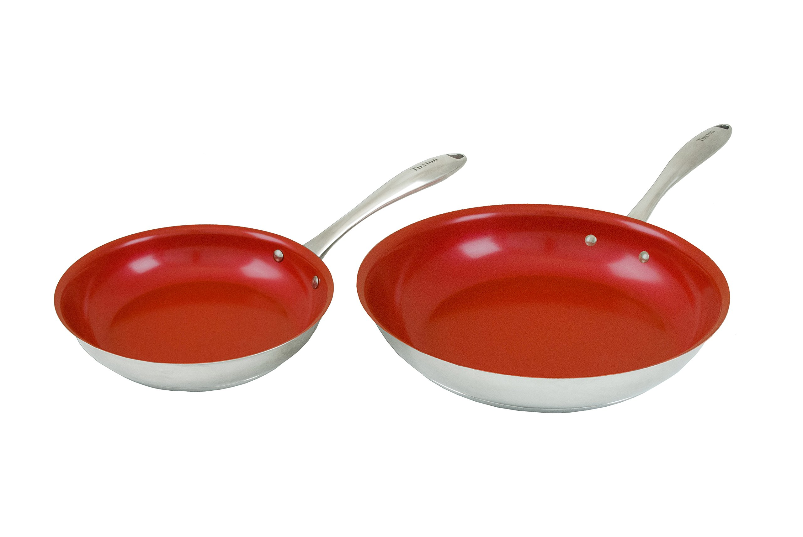 Tuxton Home Concentrix Nonstick Color Frypans, 8'' and 11'', Cayenne Red; Stainless Steel with Ceramic Nonstick Coating, Stainless Steel, PFTE & PFOA Free, Freezer to Oven Safe, Induction Compatible