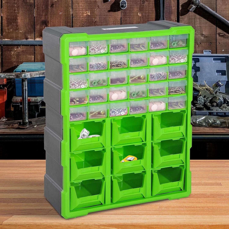 DURHAND Sortierkasten Kleinteilemagazin Teile Box Aufbewahrungsbox 60 F/ächer Orange L38 x B16 x H47,5 cm