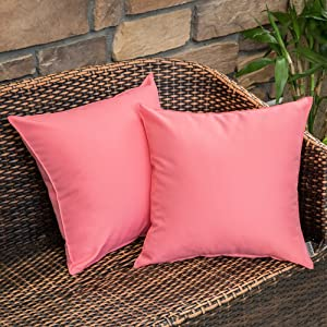 MIULEE Pack of 2 Decorative Outdoor Waterproof Pillow Covers Square Garden Cushion Sham Throw Pillowcase Shell for Patio Tent Couch 18x18 Inch Pink