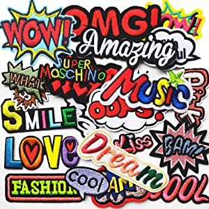 Mosheng Accessory 22pcs DIY Word Patches Embroidery Mix Patterns Iron On/Sew On Applique for Clothes Backpacks T-Shirt Jeans Skirt Vests Scarf Hat Bag (Style 10)