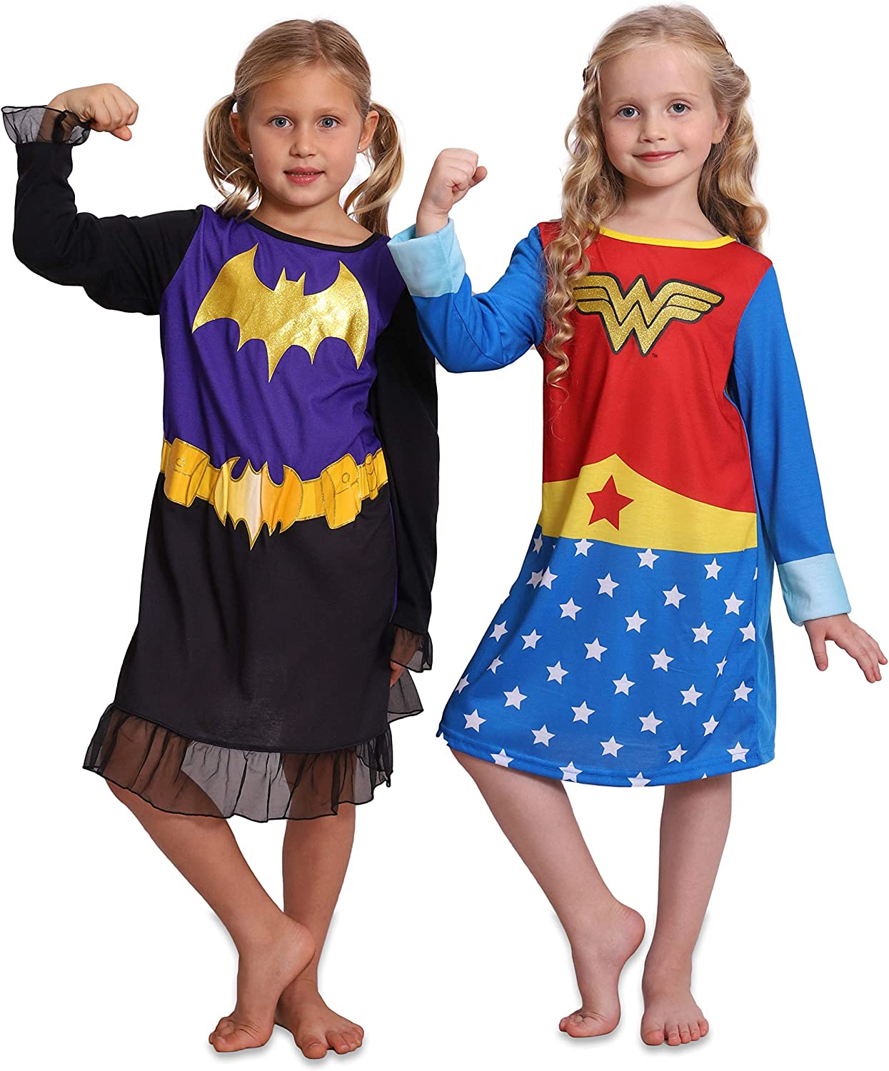 Wonder Woman Toddlers and Girls Red Logo Nightgown Uniform Long Sleeved Gown